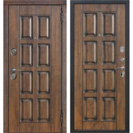 Дверь входная металлическая Мюнхен, 860 мм, правая, цвет грецкий орех/патина