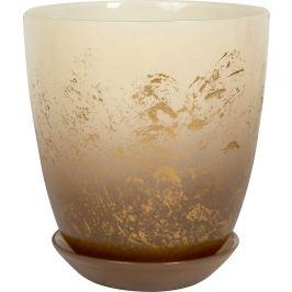 Горшок «Современный», 1 л, 14.5 см, стекло, цвет прозрачный кремовый