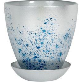 Горшок «Современный», 0.85 л, 13.2 см, стекло, цвет серебрённый металлик