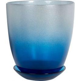 Горшок №4, 2 л, 158 см, стекло, с поддоном, цвет металлик индиго