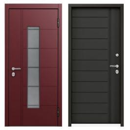 Дверь металлическая Термо РР Стекло, 880 мм, правая, цвет серый