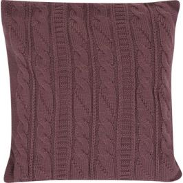 Подушка вязаная косичка 40х40 фиолетовая