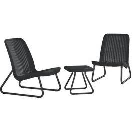 Набор садовой мебели Rio полиротанг графит: журнальный стол и 2 стула