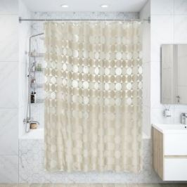 Штора для ванной комнаты «Космос», 180х200 см, полиэстер, цвет бежевый
