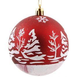 Набор ёлочных шаров 8 см цвет красный, 6 шт.