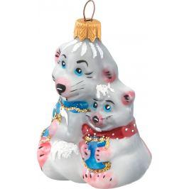 Украшение ёлочное «Крыса с малышом», 9 см, стекло