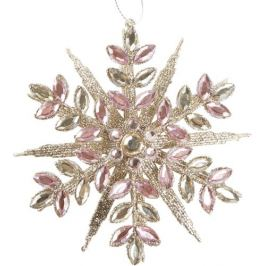 Украшение новогоднее «Снежинка», 13 см, цвет розовый/золотой