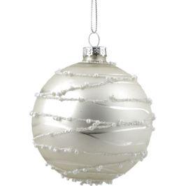 Шар ёлочный «Изморозь», 8 см, цвет серебристый