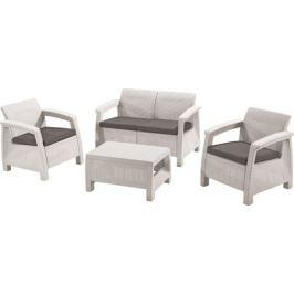 Набор садовой мебели Corfu set полиротанг белый: стол, диван и 2 кресла