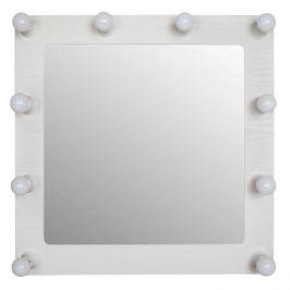 Декоративное зеркало с внешней подсветкой «Грим» цвет белый 69х68 см