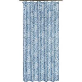 Штора на ленте «Папоротник», 160х260 см, растения, цвет голубой
