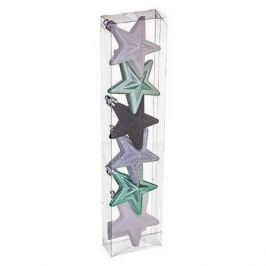 Набор ёлочных украшений «Звёзды», цвет белый/сиреневый, 6 шт.