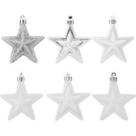 Набор ёлочных украшений «Звёзды», цвет белый/серебряный, 6 шт.