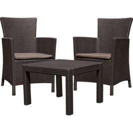 Набор садовой мебели Rosario полиротанг коричневый: стол и 2 кресла