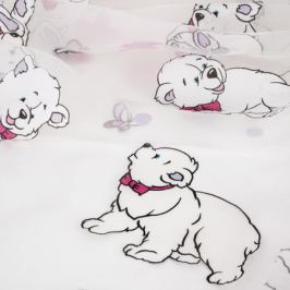 Тюль «Мишки», 280 см, детский, цвет розовый