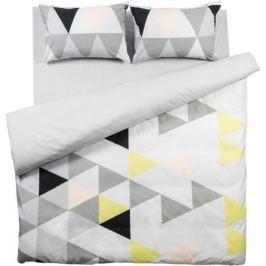 Комплект постельного белья «Треугольник» евро поплин цвет серый