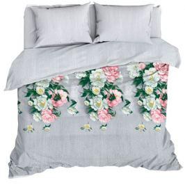 Комплект постельного белья «Пионы», евро, бязь, светло-серый