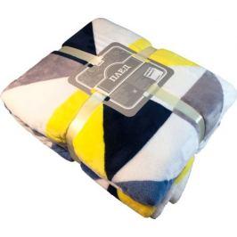 Плед «Пирамида» 200x220 см микрофибра цвет жёлтый/синий