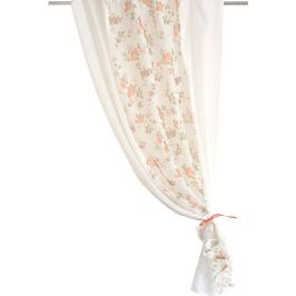 Тюль на ленте для кухни «Комби» 140x160 см цвет персиковый/молочный