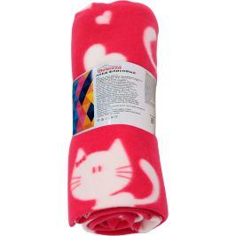 Плед «Коты и сердца» 120x150 см флис цвет фуксия