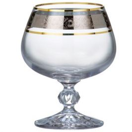 Набор бокалов для бренди CRYSTALEX Клавдия 250мл 6шт, панто платина стекло, 40149/43249/250