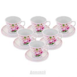 Набор чайный HOME CAFE Розовая роза 6 персон, 12 предметов 220мл твердый фарфор
