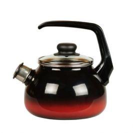 Чайник со свистком СтальЭмаль Кармен, 2л, черный с красным подпылением, эмаль