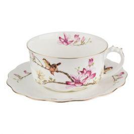 Пара чайная Птицы на ветке, 375мл фарфор