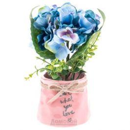 Растение искусственное Фиалка, h15см, голубой, керамическое кашпо