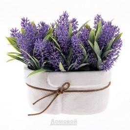 Растение искусственное Лаванда, h15см, фиолетовый, керамическое кашпо