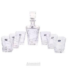 Набор для виски CRYSTAL BOHEMIA ZIG ZAG (штоф 750мл, 6 стаканов 300мл) хрусталь, БПХ076