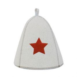 Шапка для сауны Со звездой белая войлок