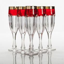 Набор бокалов для шампанского MORAVSKE SKLARNY KVE Сафари 150мл, 6шт, рубин золото, хрустальное стекло, 1KC86K/0/432267/150