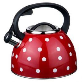 Чайник со свистком, 2,5 л, нержавеющая сталь, красный в белый горох