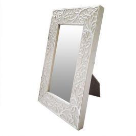 Зеркало настольное в багетной раме Цветы, 13х19см, белый