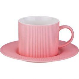 Пара чайная Гофра розовая 280мл, фарфор