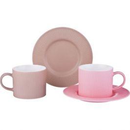 Набор чайных LEFARD пар Гофра 4 предмета 280мл бежевая, розовая, фарфор, 482-121
