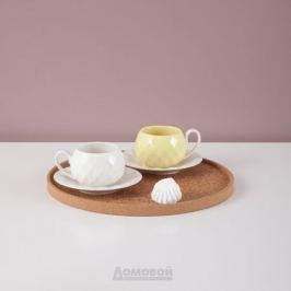 Набор чайный LEFARD Ромбы 2 персоны, 4 предмета 200мл белый/желтый, фарфор, 374-035
