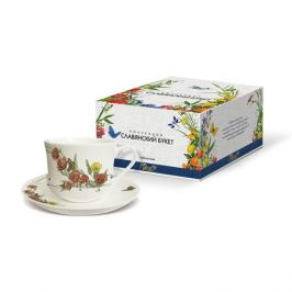 Пара чайная PRIORITY Славянский букет Маки 480мл, фарфор, КРС - 781