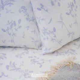 Простыня 2-спальная на резинке, 160х200см, бязь, гербарий, голубой