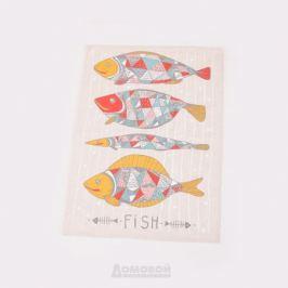 Полотенце кухонное Рыба, 45х60см, гладкотканое, плотность 145 г/м2, шелкография, 50% хлопок, 50% лён