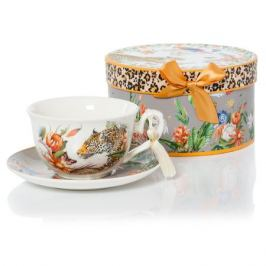 Пара чайная SIJ ЛЕОПАРД 220мл, фарфор, GC19021