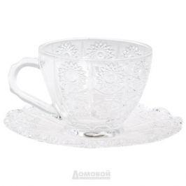 Набор чайных пар Хрустальное Солнце 6шт 200мл, стекло