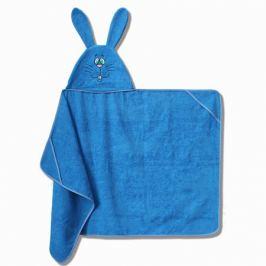 Полотенце махровое с капюшоном Зайчик, 75х125см, голубой, 300г/м2, 100%хлопок