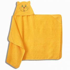 Полотенце махровое с капюшоном Котик, 75х125см, жёлтый, 300г/м2, 100%хлопок