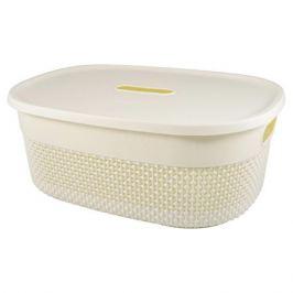 Корзина для хранения с крышкой PLAST TEAM OSLO 12л молочный