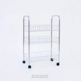 Этажерка ДОМОВОЙ 3-х уровневая на колесиках, 40х26х62 см, металл/пластик