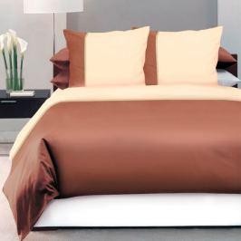 Комплект постельного белья DeLUX Евро, наволочка 70x70см 2шт, коричневый, сатин