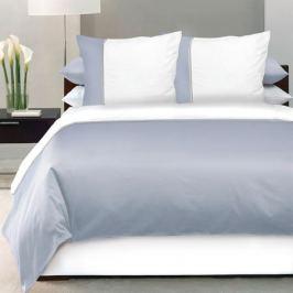 Комплект постельного белья DeLUX Евро, наволочка 70x70см 2шт, серый, сатин