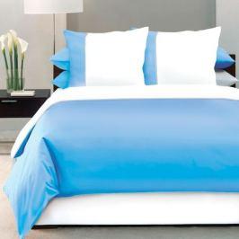 Комплект постельного белья DeLUX Евро, наволочка 70x70см 2шт, голубой, сатин